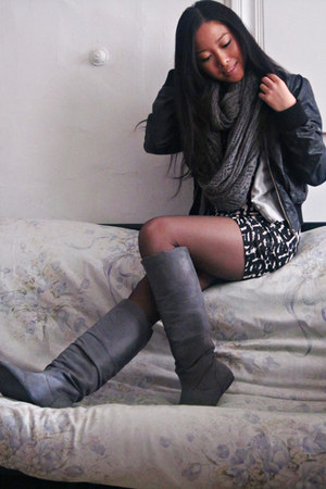 H&M dress - H&M scarf - H&M jacket - JCrew cardigan - random boots