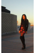 JCrew cardigan - H&M dress - HUE tights - H&M boots