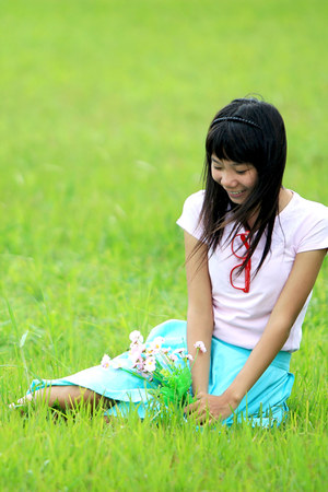 light blue mint Alofely skirt - bubble gum plain MNG shirt