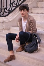 H&M cardigan - Zara boots - Beyond Retro bag - Topman pants
