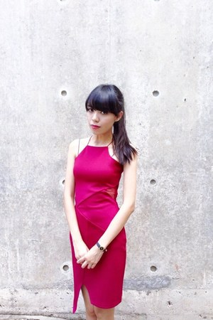ruby red burgundy mesh Love Bonito dress