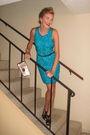 Blue-vintage-dress-orange-necklace-pink-victorias-secret-swimwear-scarf-