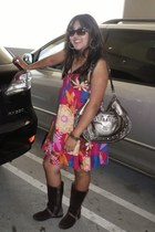 Michael Kors boots - rainbow dress - Guess purse - Fossil sunglasses