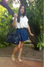 Shoes-navy-unknown-bag-navy-no-brand-skirt-white-no-brand-blouse