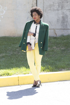 yellow H&M jeans - dark green vintage jacket - cream Forever 21 top