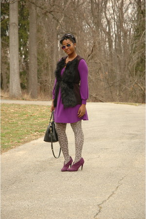 purple E20 boots - purple unknown dress - heather gray Target stockings