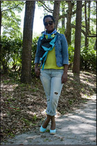 sky blue Target jacket - lime green H&M scarf - black H&M sunglasses