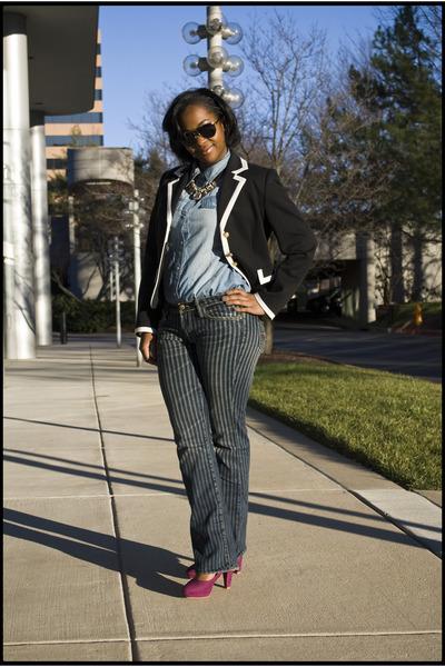 vintage jeans - vintage blazer - Forever 21 blouse - H&M pumps