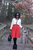 a-line H&M skirt - black booties Dolce Vita boots - satchel Dooney & Bourke bag
