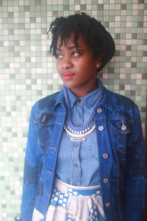 StyleScan necklace - blue vintage jacket - APAR bag - sky blue Gap top