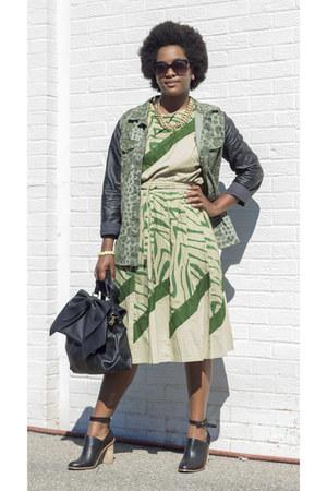black JustFab bag - olive green Nairobi Kenya dress - forest green H&M jacket