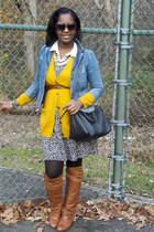 H&M cardigan - DSW boots - Target dress - Target coat - Dooney & Bourke bag