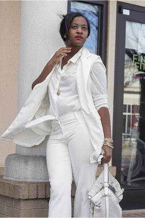 white H&M blouse - cream JustFab bag - cream vintage vest