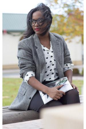 charcoal gray vintage blazer - black JustFab boots - black H&M skirt