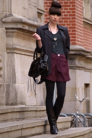 purple selfmade shorts - black vintage boots - gray vintage blazer