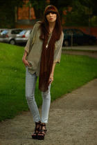 beige Vintage from my mom shirt - brown ASH shoes - gray Topshop jeans