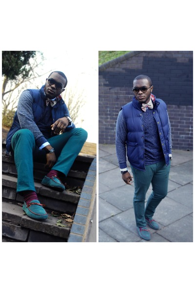 blue Tokyo laundry jumper - light blue TM Lewin shirt - maroon Jack Jones socks