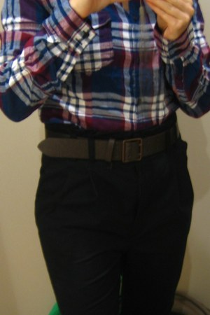 navy pants - brick red blouse - dark brown belt