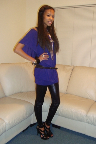 purple supre top - black Dotti tights - black lipstick shoes