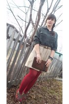 banana republic skirt - thrifted bag - Crefew wedges - Christine and Jill blouse