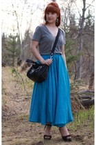blue thrifted skirt - black coach purse