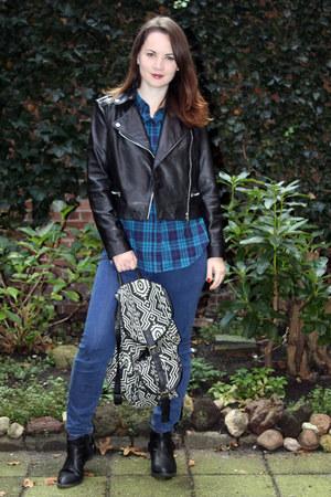 leather jacket Mango blazer - aztec brijit bijou bag