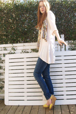 pink H&M blouse - yellow shoes - blue Dr Denim jeans - scarf