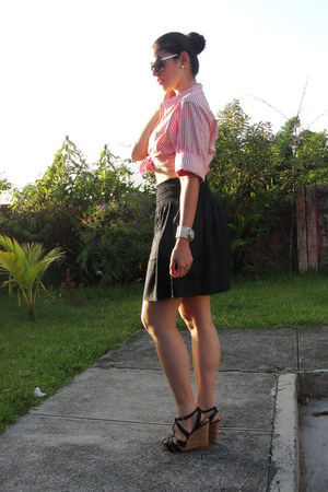 Bershka sunglasses - Nine West wedges - Ralph Lauren blouse - Zara skirt