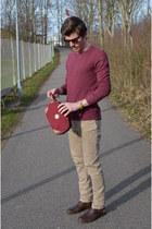 brick red H&M sweater - brick red Aude Falbert bag - H&M bracelet