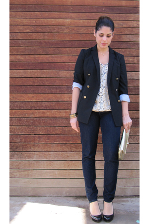 black Gap blazer - beige Beyond Vintage blouse - blue 7 for all mankind jeans -