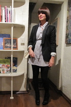 black Zara blazer - gray American Apparel dress - black boots