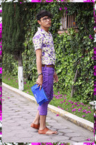 violet thrifted vintage shirt - blue envelope clutch manov bag
