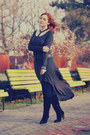 Black-swede-stone-creek-boots-charcoal-gray-long-derin-dress