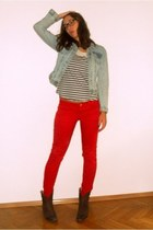 red Zara jeans - bologna boots - denim Zara jacket