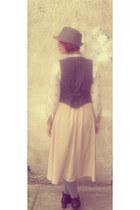 vintage vest - vintage skirt - vintage blouse - handmade necklace