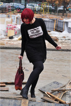 diy shirt - black lace dress - brick red leather La Martina bag