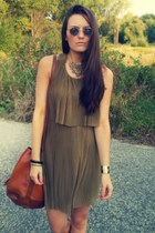 olive green hm dress - burnt orange Deichmann boots - brick red hm bag