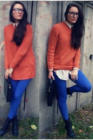 carrot orange Secondhand sweater - black vintage boots