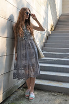heather gray lace zaful dress - green cuff zaful bracelet