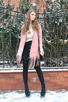 light pink faux suede OASAP coat - black faux suede new look heels