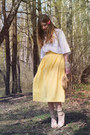 Eggshell-river-island-heels-light-yellow-diy-skirt