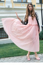 Light-pink-suede-gamiss-shoes-light-pink-pleated-gamiss-dress