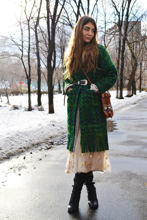 dark green GAMISS coat - ivory sequined GAMISS skirt - crimson zaful belt