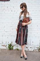 dark green pleated BangGood skirt - silver cotton BangGood top