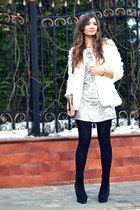 white faux fur OASAP coat
