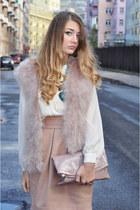 light pink feathers Zara vest - peach H&M skirt