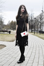 Black-lace-oasap-dress-white-oasap-bag