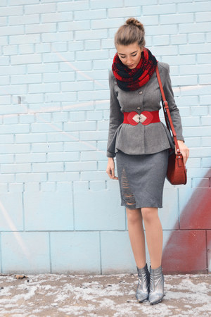 heather gray Lookbook Store jacket - charcoal gray knit OASAP skirt