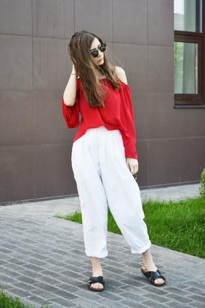red chiffon OASAP blouse