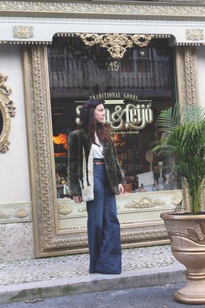 faux fur vintage coat - flare Miss Sixty jeans - Diesel shirt